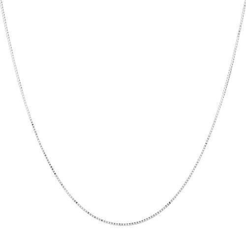 """40cm (16"""") Box Chain in 10ct White Gold"""