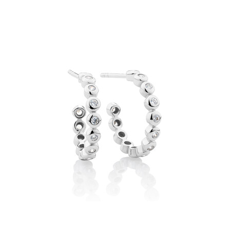 Huggie Earring & Bracelet Set with Cubic Zirconia in Sterling Silver
