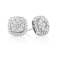 Stud Earrings with 1 Carat TW of Diamonds in 10ct White Gold