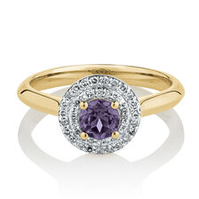 Ring with Created Purple Sapphire & 0.18 Carat TW of Diamonds in 10ct Yellow Gold
