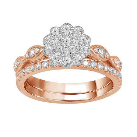 Flower Ring Set with 0.60 Carat TW of Diamonds in 14ct Rose & White Gold