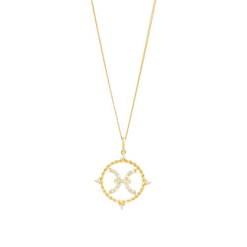 Pisces Zodiac Pendant with 0.15 Carat TW of Diamonds in 10ct Yellow Gold