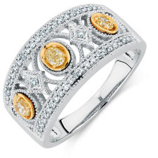Ring with 0.30 Carat TW of White & Natural Yellow Diamonds in 10ct Yellow & White Gold
