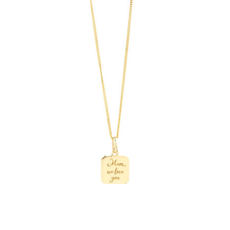 Engraved Square Disc Pendant in 10ct Yellow Gold