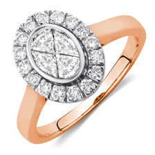 Engagement Ring with 3/4 Carat TW of Diamonds in 14ct Rose & White Gold