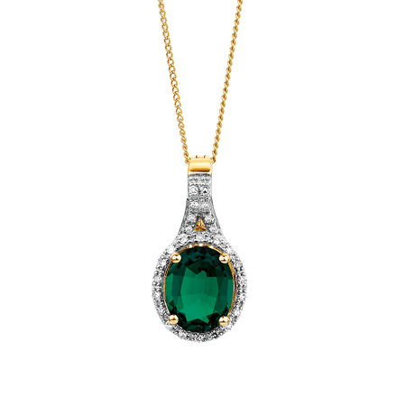 Pendant with Created Emerald & 0.15 Carat TW of Diamond in 10ct Yellow & White Gold