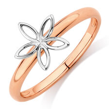 Flower Stack Ring in 10ct White & Rose Gold