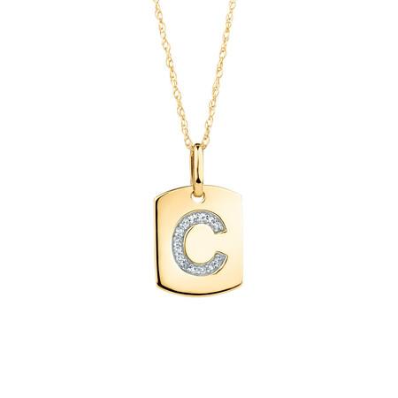 """C"" Initial Rectangular Pendant With Diamonds In 10ct Yellow Gold"