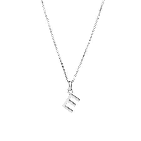 """""""E"""" Initial Pendant in Sterling Silver"""
