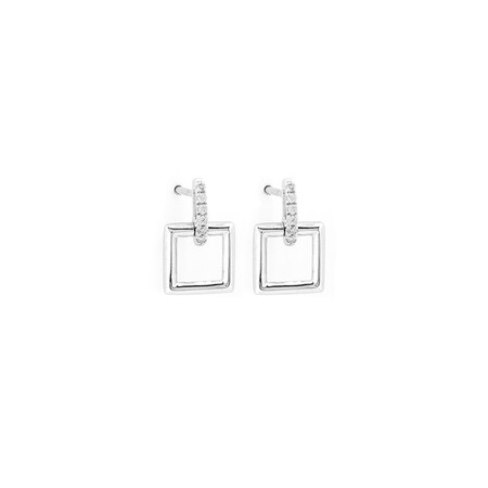 Square Drop Earrings with Diamonds in Sterling Silver