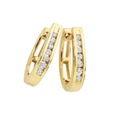 Huggie Earrings with 0.33 Carat TW of Diamonds in 10ct Yellow Gold