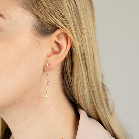 Drop Earrings with 0.40 Carat TW of Diamonds in 10ct Yellow Gold