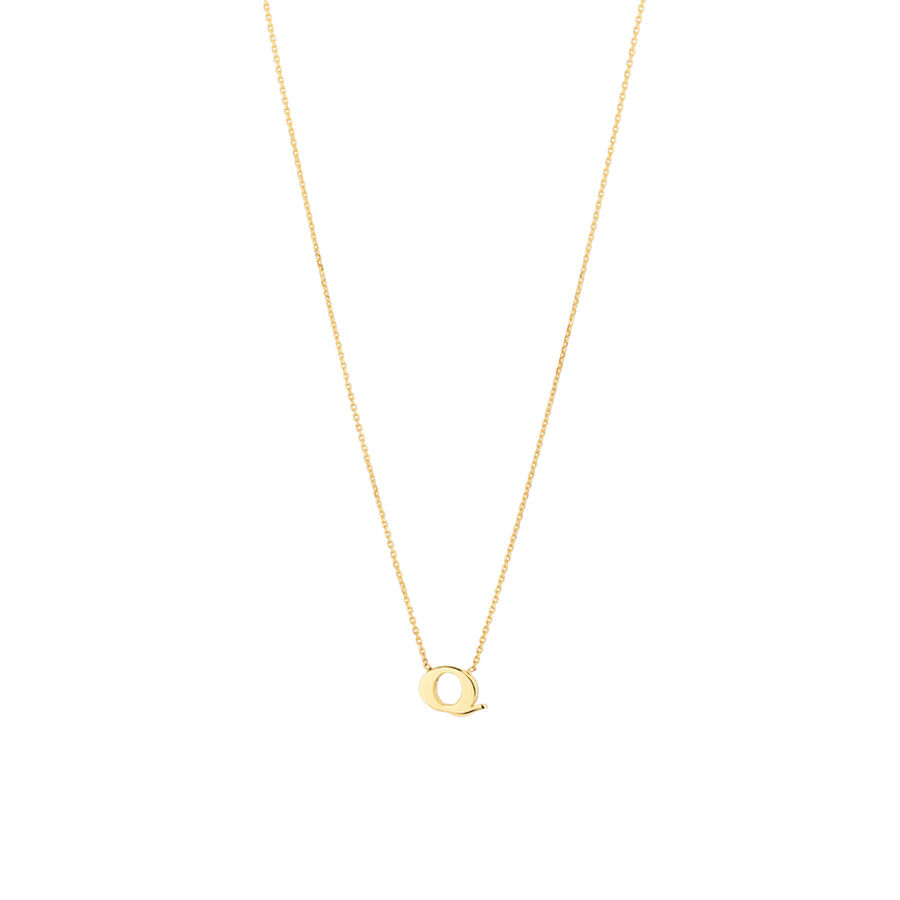 """""""Q"""" Initial Necklace in 10ct Yellow Gold"""