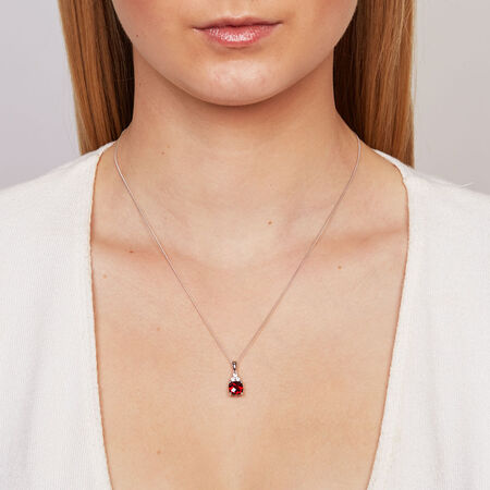 Pendant with Garnet & Created White Sapphire in Sterling Silver