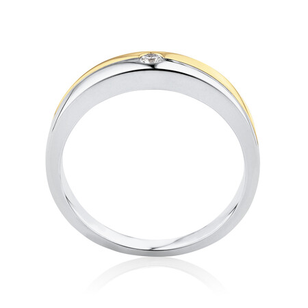 Ring with Diamond in 10ct White & Yellow Gold