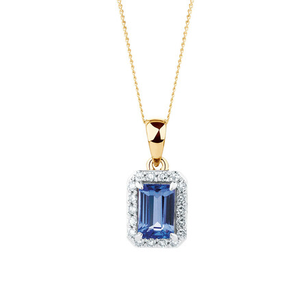 Pendant with Tanzanite & Diamonds in 10ct Yellow & White Gold