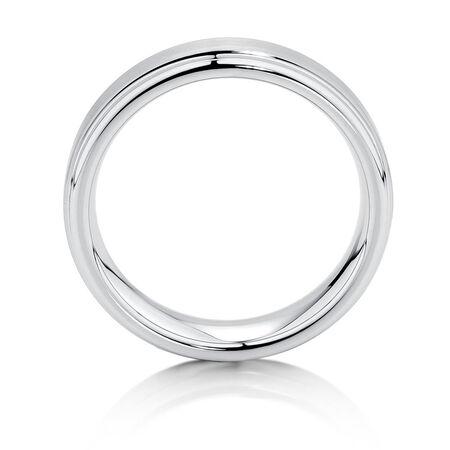 6mm Men's Ring in White Tungsten