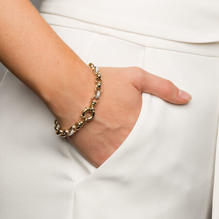 """19cm (7.5"""") Belcher Bracelet with Cubic Zirconias in 10ct Yellow & White Gold"""
