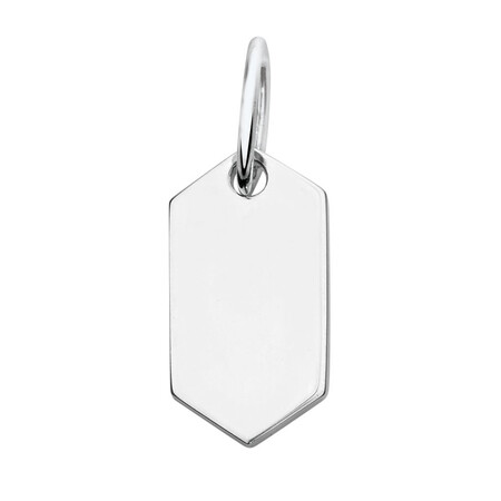 Engravable Small Hexagon Pendant in Sterling Silver