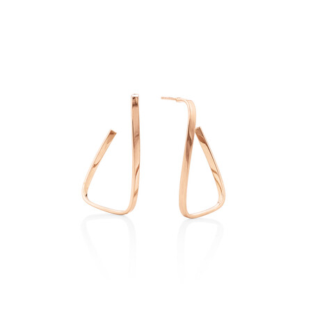 Twisted rectangle Stud Earrings in 10ct Rose Gold