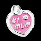 """Sterling Silver & Pink Enamel """"#1 Mum"""" Heart Dangle Charm"""