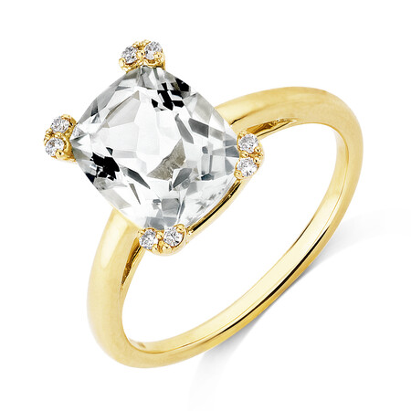 Ring With Green Amethyst & Diamonds In 10ct Yellow Gold