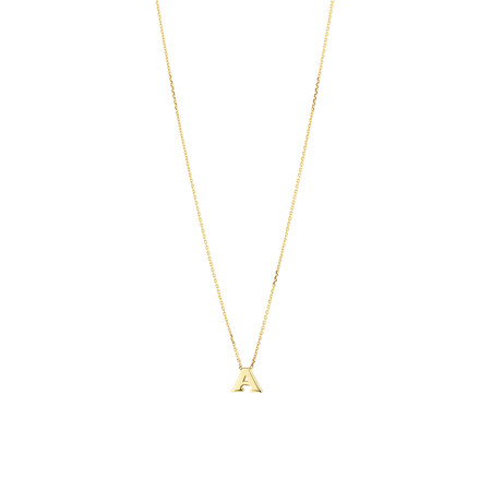 """A"" Initial Necklace in 10ct Yellow Gold"