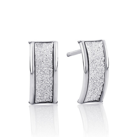 Glitter Stud Earrings in 10ct White Gold