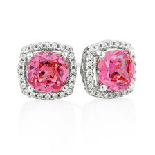 Stud Earrings with Pink & White Cubic Zirconias in Sterling Silver
