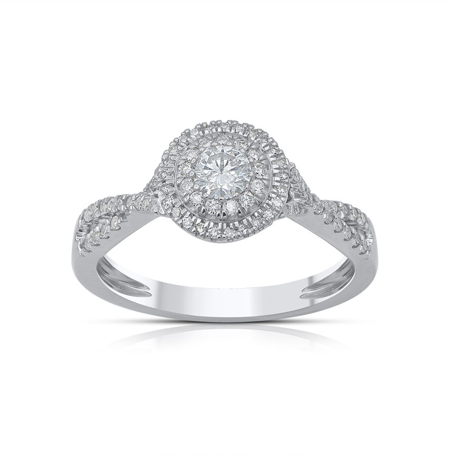 Twist Halo Ring with 1/2 Carat TW of Diamonds in 10ct White Gold