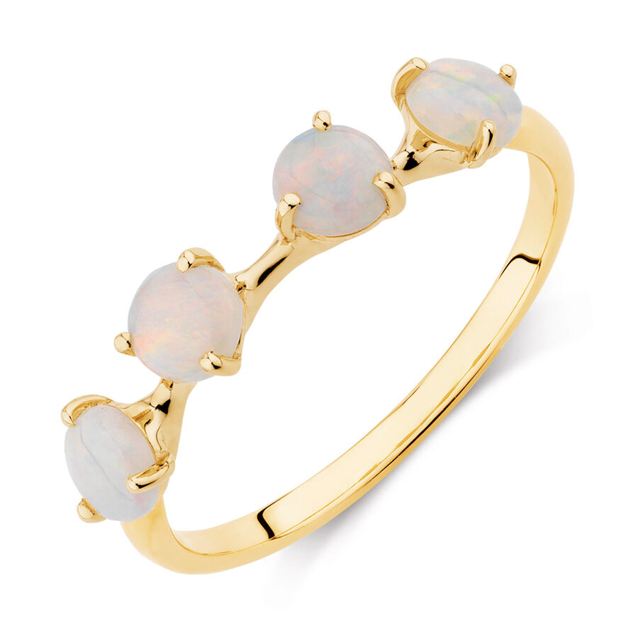 Ring with Natural White Opals in 10ct Yellow Gold
