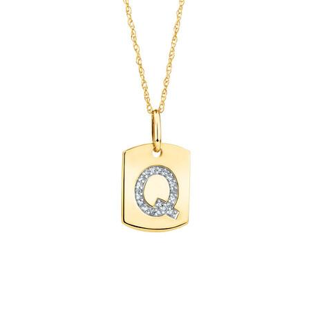 """Q"" Initial Rectangular Pendant With Diamonds In 10ct Yellow Gold"