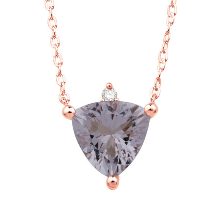 Necklace with Morganite and Diamond in 10ct Rose Gold