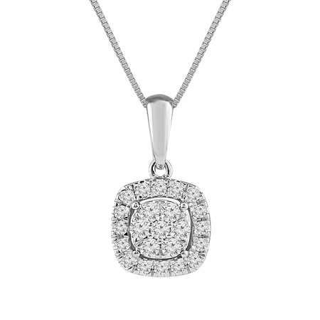 Cluster Pendant with 0.25 Carat TW of Diamonds in 10ct White Gold
