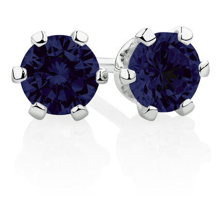 Stud Earrings with Blue Cubic Zirconia in Sterling Silver