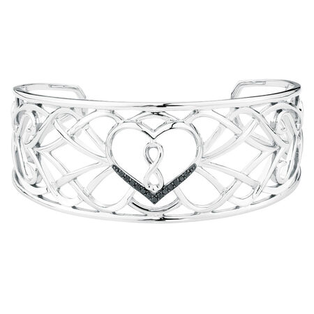Online Exclusive - Infinitas Cuff with 0.15 Carat TW of Enhanced Black Diamonds in Sterling Silver