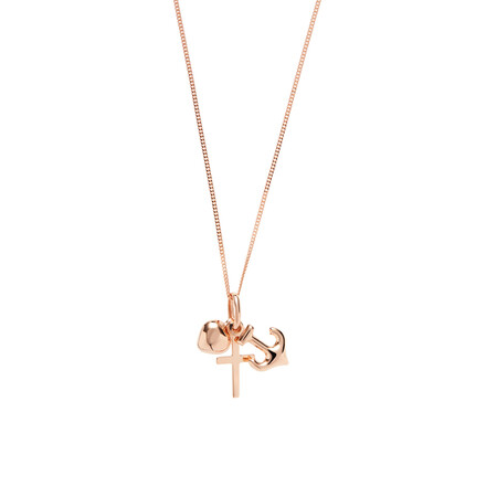 Faith, Hope & Charity Pendant in 10ct Rose Gold