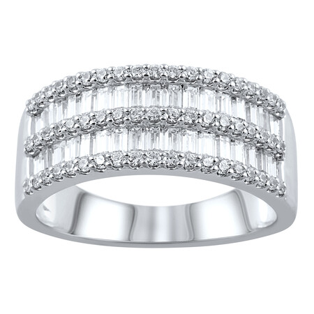 Five Row Ring with 1.00 Carat TW of Diamonds in 10ct White Gold