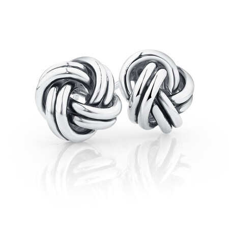 Knotted Stud Earrings in Sterling Silver