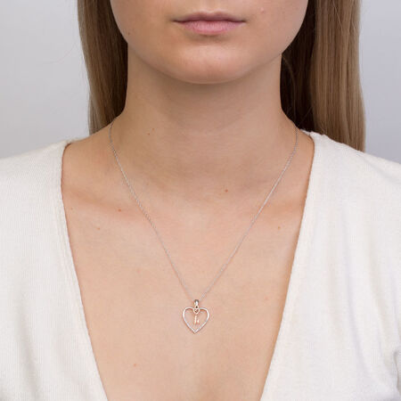 Pendant with Diamonds in 10ct Rose Gold & Sterling Silver