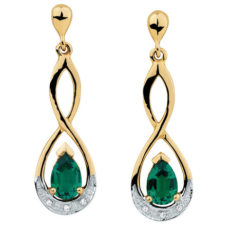 Drop Earrings with Created Emerald & Diamonds in 10ct Yellow & White Gold