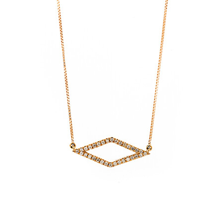 Geometric Necklace with Diamonds in 10ct Rose Gold