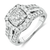 Engagement Ring with 1 1/2 Carat TW of Diamonds in 10ct White Gold