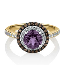 Ring with Amethyst & 0.50 Carat TW of White & Brown Diamonds in 14ct Yellow Gold