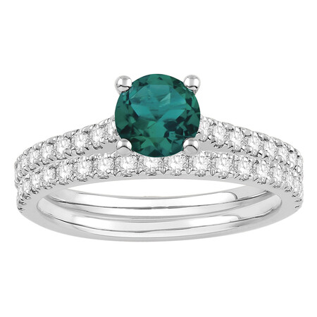Bridal Set with Emerald & 0.69 Carat TW of Diamonds in 14ct White Gold