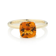 Online Exclusive - Ring with Citrine in 10ct Yellow Gold