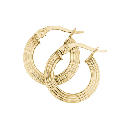 Four Ring Hoop Earrings in 10ct Yellow Gold