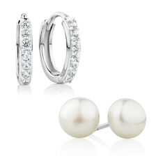 Earrings Gift Set with Cultured Freshwater Pearl & Cubic Zirconia in Sterling Silver