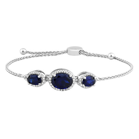 Adjustable Bracelet with Created Sapphire & 0.18 Carat TW of Diamonds in Sterling Silver