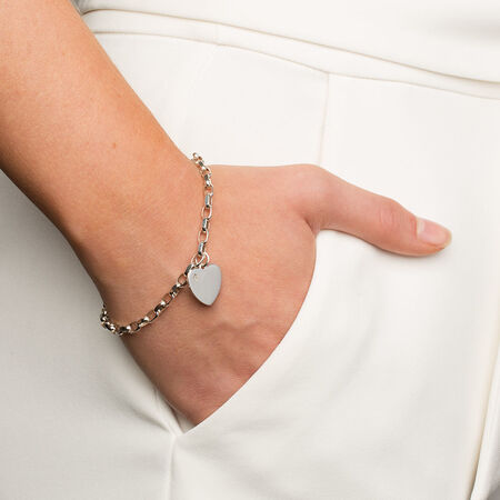 "19cm (7.5"") Diamond Set Belcher Bracelet in Sterling Silver"
